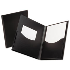Oxford Poly Double Stuff Gusseted 2-Pocket Folder, 200-Sheet Capacity Black