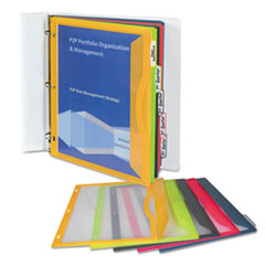 C-Line Binder Pocket With Write-On Index Tabs, 8-1/2 x 11, Assorted, 5/Set