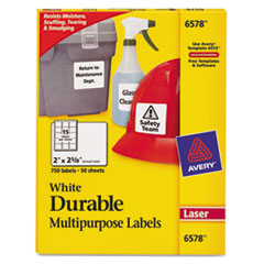 Avery Permanent Durable ID Laser Labels, 2 x 2-5/8, White, 750/Pack