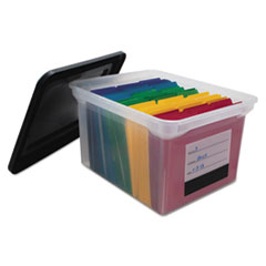 Innovative Storage Designs File Tote with Contents Label, Letter/Legal, Clear/Black