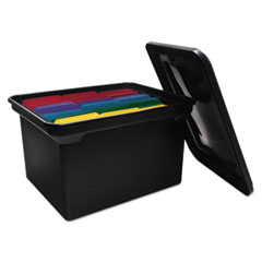 Advantus File Tote Storage Box w/Lid , Legal/Letter, Plastic, Black