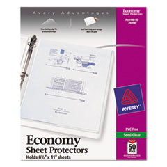 Avery Top-Load Poly Sheet Protectors, Economy Gauge, Letter, Semi-Clear, 50/Box