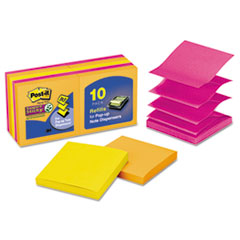 Post-it Pop-up Notes Super Sticky Pop-Up Notes, 3 x 3, Rio de Janeiro, 90/Pad, 10 Pads/Pack