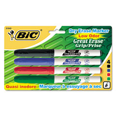 BIC Great Erase Grip Dry Erase Markers, Fine Point, Assorted, 4/Set