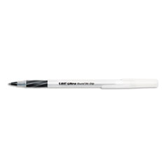 BIC Ultra Round Stic Grip Ballpoint Stick Pen, Black Ink, Medium, Dozen