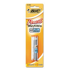 BIC Lead/Eraser Refills, 0.5mm, HB, BK, 17/Pack