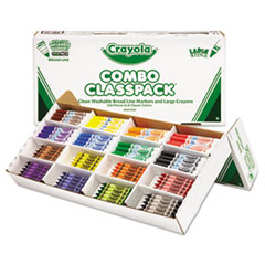 Crayola Classpack Crayons w/Markers, 8 Colors, 128 Each Crayons/Markers, 256/Box