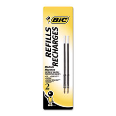 BIC Refill for Velocity, A.I., Pro+ Retractable Ballpoint, Medium, BLK, 2/Pack