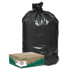 "Earthsense® Commercial LINER 33GAL 0.9 MIL BK LINEAR LOW DENSITY LARGE TRASH AND YARD BAGS, 33 GAL, 0.9 MIL, 32.5"" X 40"", BLACK, 80-CARTON"