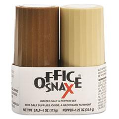 Office Snax Condiment Set, 4oz Salt, 1.5oz Pepper, Two-Shaker Set
