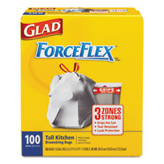 Glad ForceFlex Tall Kitchen Drawstring Bags, 13 gal, .90mil, 24x25 1/8 White 100/Bx