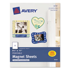 Avery Printable Inkjet Magnet Sheets, 8-1/2 x 11, White, 5/Pack