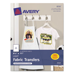 Avery Light Fabric Transfers for Inkjet Printers, 8-1/2 x 11, White, 18/Pack