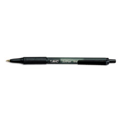 BIC Soft Feel Ballpoint Retractable Pen, Black Ink, Fine, Dozen