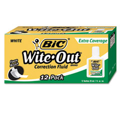 BIC Wite-Out Extra Coverage Correction Fluid, 20 ml Bottle, White, 1/Dozen
