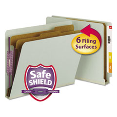 Smead Pressboard End Tab Classification Folder, Letter, 6-Section, Gray-Green, 10/Box