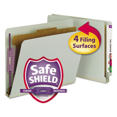Smead Pressboard End Tab Classification Folder, Letter, 4-Section, Gray-Green, 10/Box