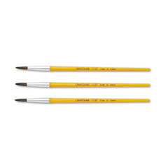 Crayola Watercolor Brush Set, Size 6, Camel Hair Blend, Round, 3/Pack