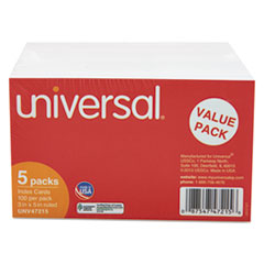 Universal Ruled Index Cards, 3 x 5, White, 500/Pack