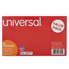 Universal Ruled Index Cards, 5 x 8, White, 500/Pack