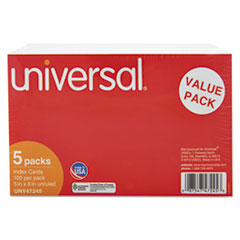 Universal Unruled Index Cards, 5 x 8, White, 500/Pack