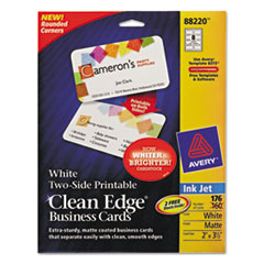 Avery Rounded Two-Sided Clean Edge Business Cards, Inkjet, 2 x 3-1/2, White, 160/Pack