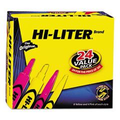HI-LITER Desk Style Highlighter, Chisel/Bullet, Assorted Colors, 24/Pack