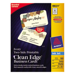 Avery Rounded Two-Sided Clean Edge Business Cards, Inkjet, 2 x 3-1/2, Ivory, 160/Pack