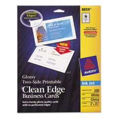 Avery Two-Sided Clean Edge Business Cards, Inkjet, 2 x 3-1/2, Glossy White, 200/Pack
