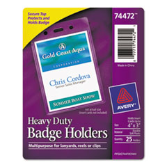 Avery Secure Top Heavy-Duty Badge Holders, Vertical, 3w x 4h, Clear, 25/Pack