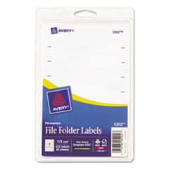 Avery Print or Write File Folder Labels, 11/16 x 3-7/16, White, 252/Pack