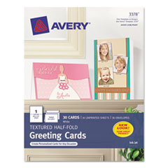 Avery Textured Half-Fold Greeting Cards, Inkjet, 5-1/2 x 8-1/2, Wht, 30/Bx w/Envelopes
