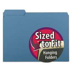 Smead Interior File Folders, 1/3 Cut Top Tab, Letter, Blue, 100/Box