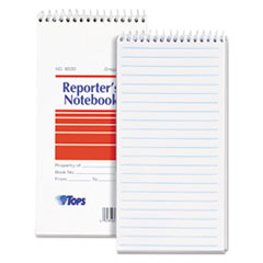 TOPS Reporter Notebook, Wide Rule, 4 x 8, White, 70 Sheets, Dozen