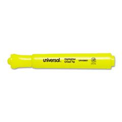 Universal Desk Highlighter, Chisel Tip, Fluorescent Yellow, 12/Pk