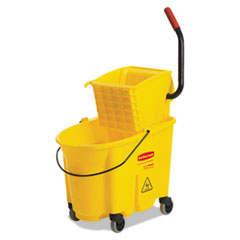 AbilityOne 7920013433776 Combination Wet Mop Bucket and Wringer, 35qt, Yellow