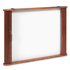Best-Rite Conference Room Cabinet, Magnetic Dry Erase Board, 44 x 4 x 32, Medium Oak