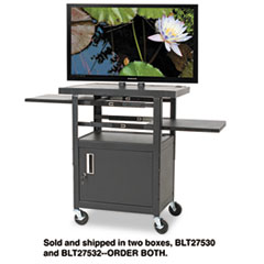 BALT Height-Adjustable Flat Panel TV Cart, 4-Shelf, 24w x 18d x 46h, Black