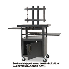 BALT Height-Adjustable TV Cart, Four-Shelf, 24w x 18d x 62h, Black (Box 2 of 2)