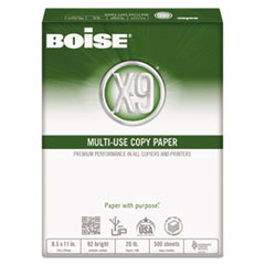 Boise X-9 Multi-Use Copy Paper, 92 Bright, 20lb, 8-1/2 x 11, White, 5000 Sheets/Carton