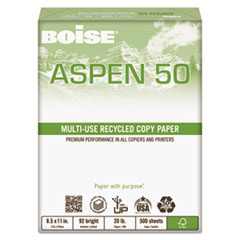 Boise ASPEN 50% Multi-Use Recycled Paper, 92 Bright, 20lb, 8 1/2 x 11, White