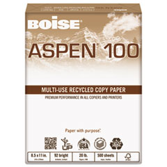 Boise ASPEN 100% Multi-Use Recycled Paper, 92 Bright, 20lb, 8-1/2 x 11, White