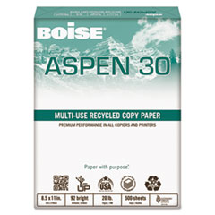Boise ASPEN 30% Recycled Multi-Use Paper, 3-H, 92 Bright, 20lb, 8 1/2 x 11, White