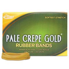 Alliance Pale Crepe Gold Rubber Bands, Size 33, 3-1/2 x 1/8, 1lb Box