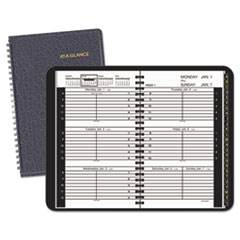 AT-A-GLANCE Weekly Appointment Book Ruled for Hourly Appointments, 4 7/8 x 8, Black, 2016