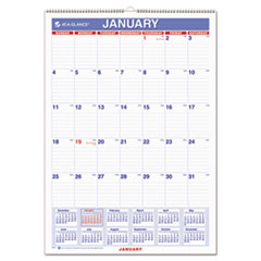 AT-A-GLANCE Monthly Wall Calendar with Ruled Daily Blocks, 12 x 17, White, 2016