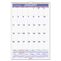 AT-A-GLANCE Monthly Wall Calendar with Ruled Daily Blocks, 15 1/2 x 22 3/4, White, 2016