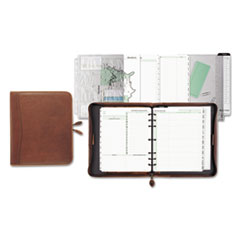 Day-Timer Aviator Distressed Leather Starter Set, 8 1/2 x 11, Dark Tan