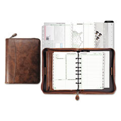 Day-Timer Aviator Distressed Leather Starter Set, 5 1/2 x 8 1/2, Dark Tan