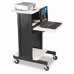 BALT Adjustable Presentation Cart, 18w x 30d x 40-1/4h, Black/Gray